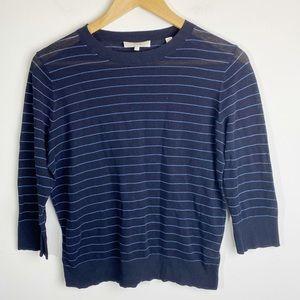 Vince Crew Neck Navy Blue Stripe Sweater Size L